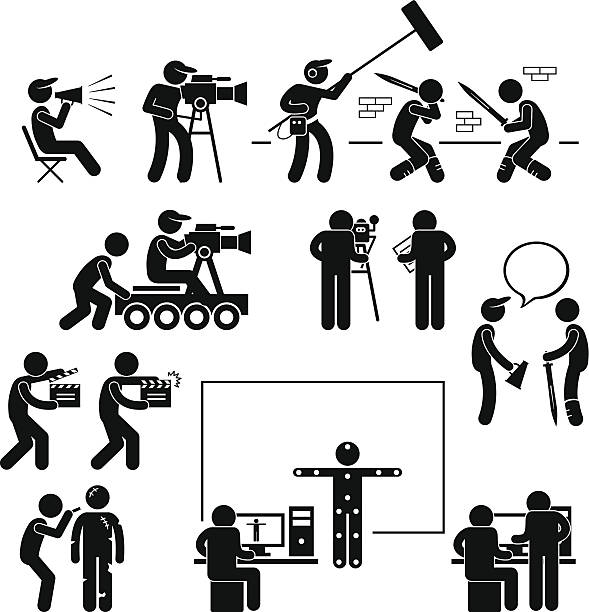 Director Making Filming Movie Production Actor Pictogram A set of pictograms representing film making scenario with the director, crews, and actors. producer stock illustrations