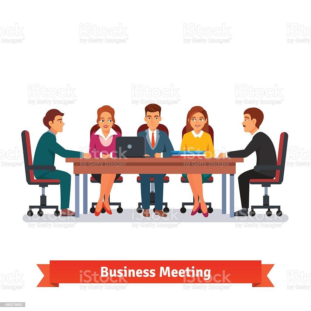 Directors board business meeting. Brainstorming vector art illustration