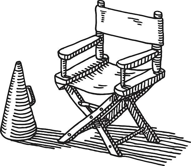 regiestuhl schalltrichter zeichnung - stuhllehnen stock-grafiken, -clipart, -cartoons und -symbole