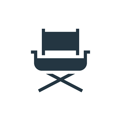 directors chair icon. Glyph directors chair icon for website design and mobile, app development, print. directors chair icon from filled furniture collection isolated on white background..