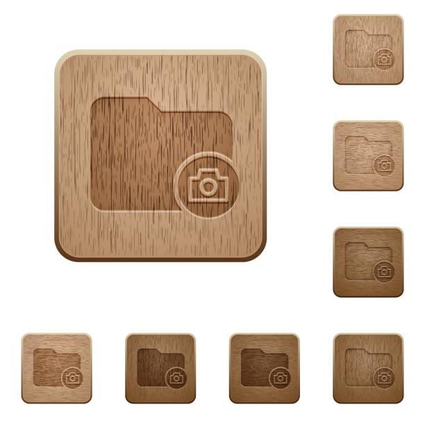illustrations, cliparts, dessins animés et icônes de répertoire de capture instantanée des boutons en bois - camera sculpture