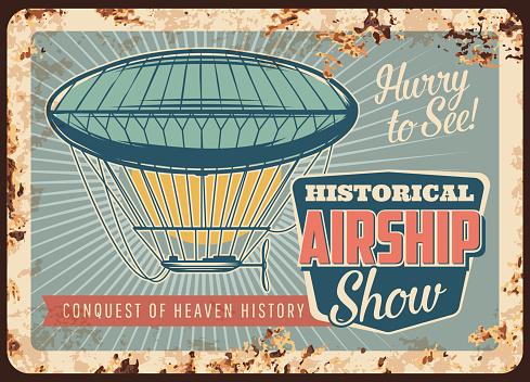 Dirigible airship rusty metal plate, zeppelin