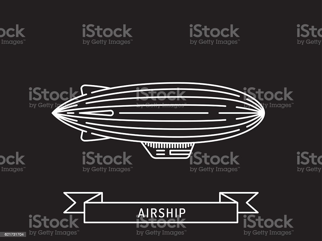 Dirigible and hot air balloons airship vector art illustration