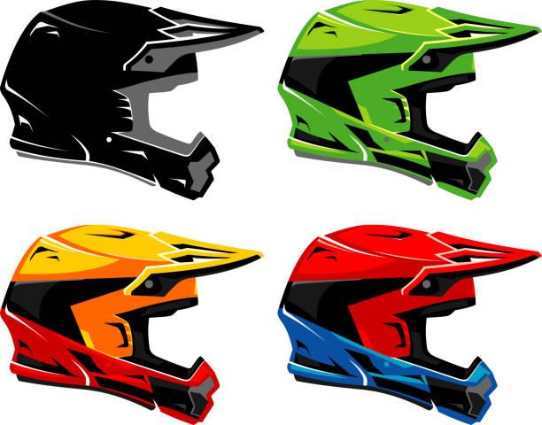 Dirt Bike Helmet Set vector art illustration