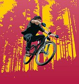 Vector illustration of a Mountain Biker in mid air.