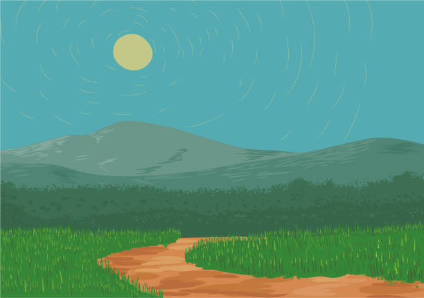 Dirt road with mountain vector vector art illustration