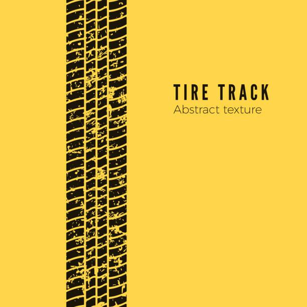 stockillustraties, clipart, cartoons en iconen met vuil spoor van de auto wiel beschermer. band track silhouet. zwarte band track. vector illustratie geïsoleerd op gele achtergrond - bandenspoor