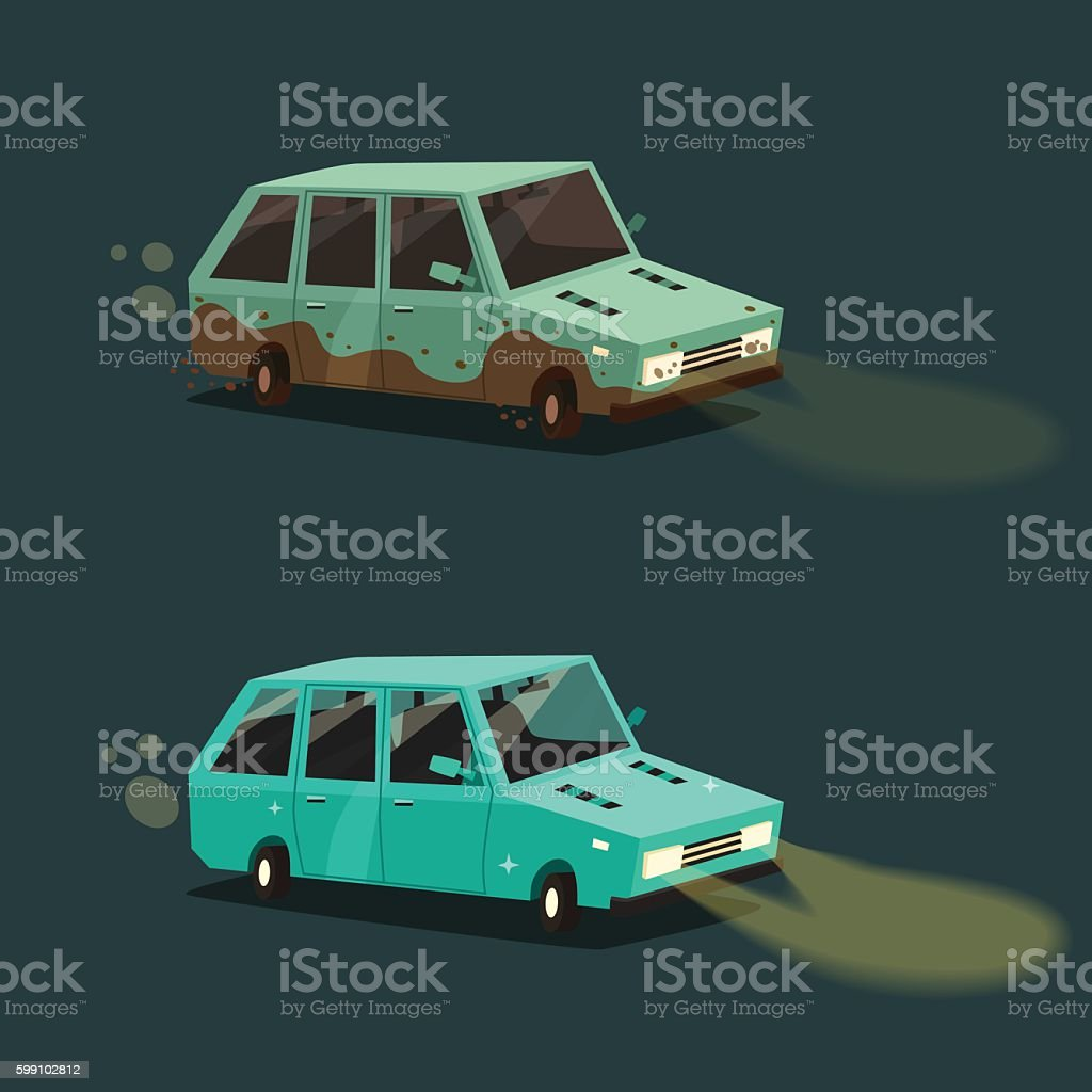 Dirty and clean car. American automobile. Cartoon vector illustration vector art illustration