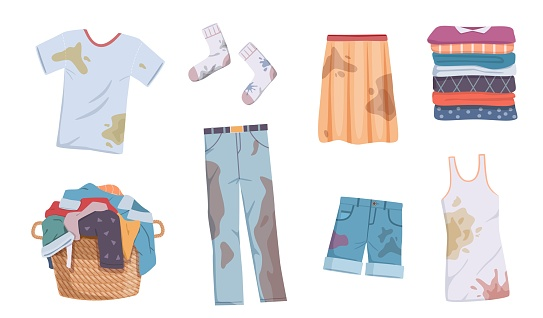 Dirty and clean clothes. Apparel heap with stains in basket and washed clothing, pile different towels, undershirts and jeans vector flat isolated set