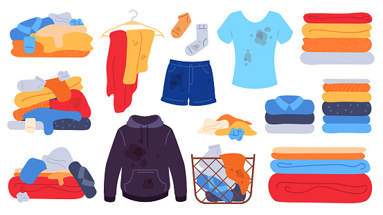 Dirty and clean clothes. Flat laundry basket, jeans, t-shirt and socks with stains. Dirty clothing piles, towels stack. Washing vector set