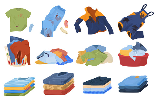 Dirty and clean clothes set vector. Colorful laundry collection. Pile of washed clothing in basket