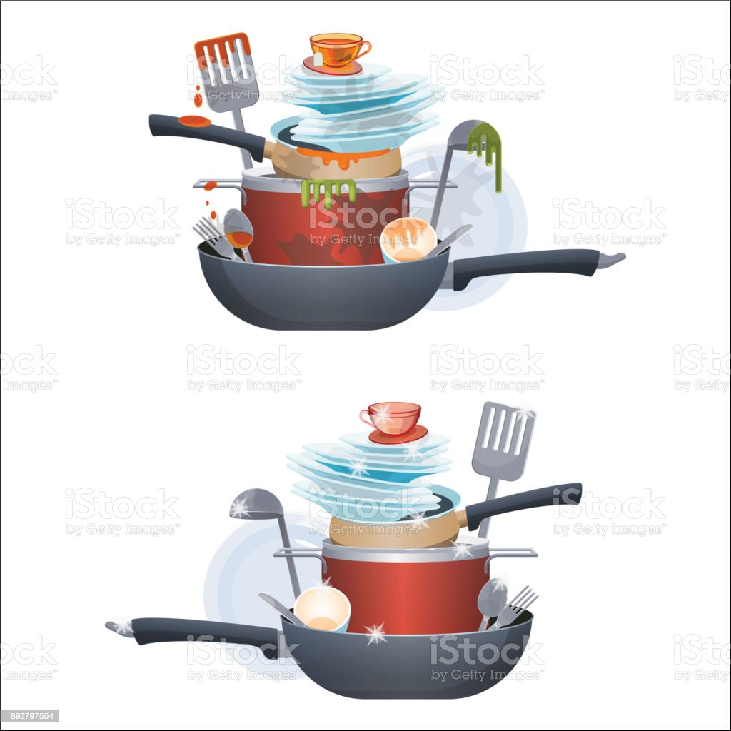 Dirty and clean dishes plates and pans, kitchen cutlery vector art illustration