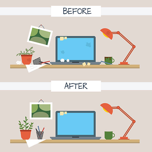 Dirty and clean work table. Dirty and clean work table. Creative mess. Disorder in the interior. Table before and after cleaning. Flat style vector illustration. unhygienic stock illustrations