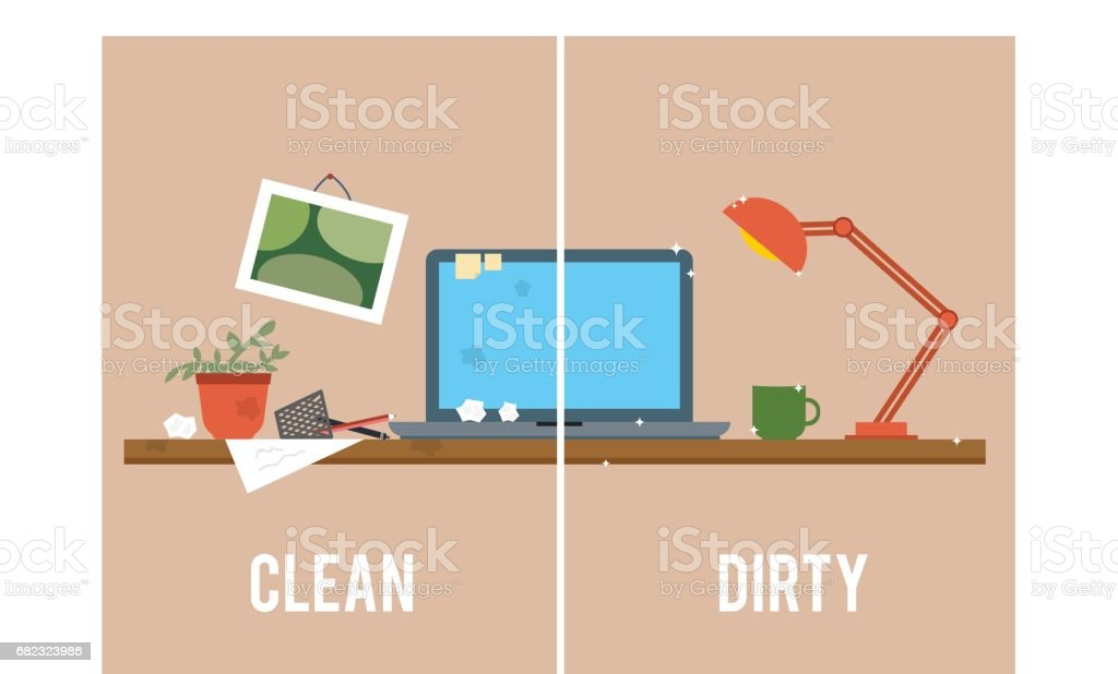 Dirty and clean work table. vector art illustration