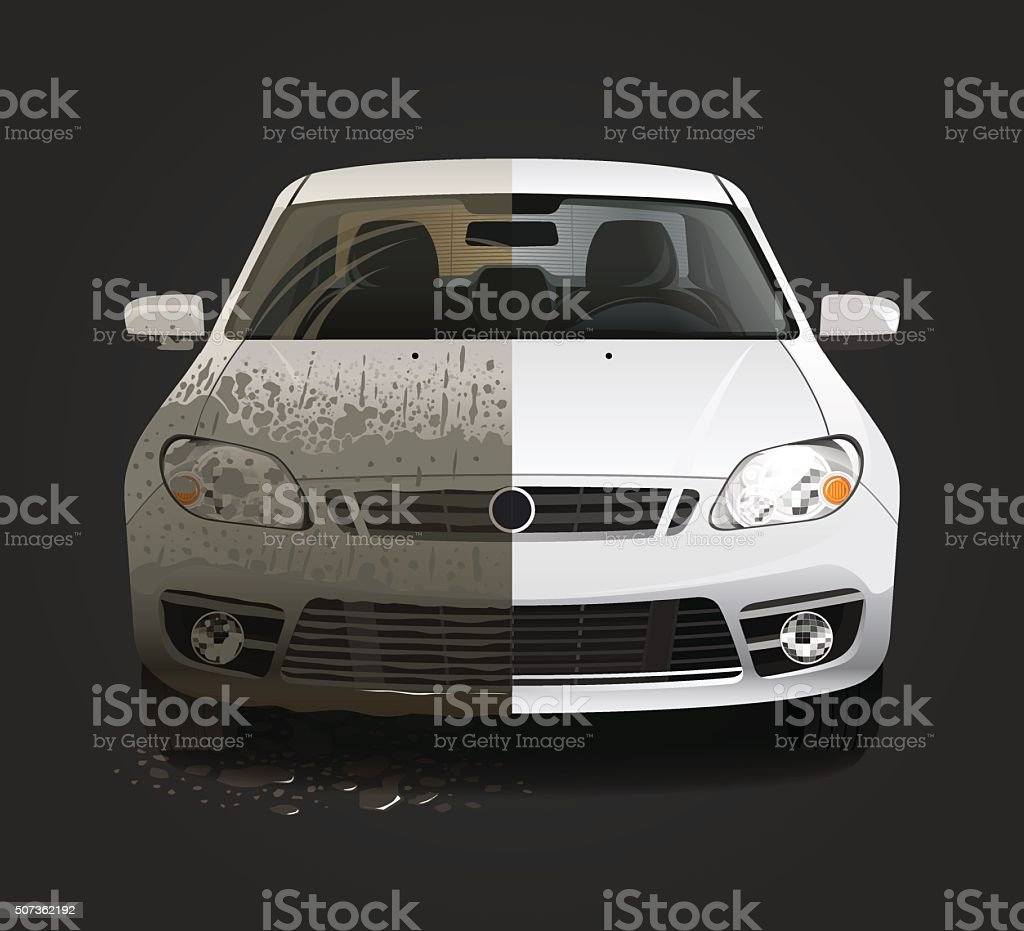 Dirty car wash service vector art illustration