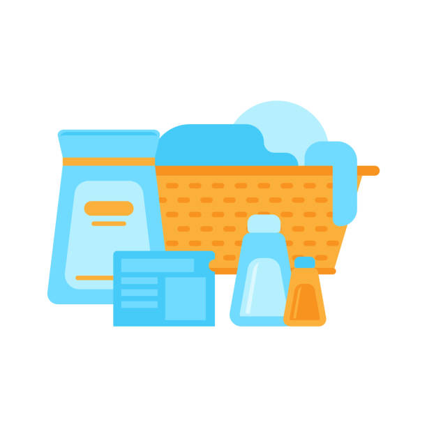 Dirty clothes and cleaners. Laundry. Flat isolated icon Dirty clothes and cleaners. Laundry. Washing powder box and gel. Icon. Flat design laundry basket stock illustrations