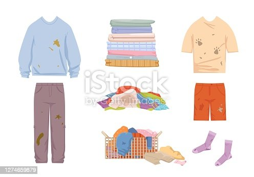 Dirty clothes and mess set. Grease stained blue sweater and pants pile of unwashed socks shorts tshirt with dog prints laundry basket filled with smelly clothes stack clean linen. Vector cleaning.