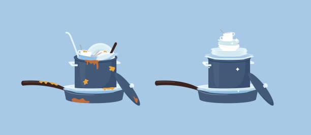 bildbanksillustrationer, clip art samt tecknat material och ikoner med smutsiga rätter i köket före och efter rengöring, tvätthög med köksartiklar och tallrikar. - frying pan