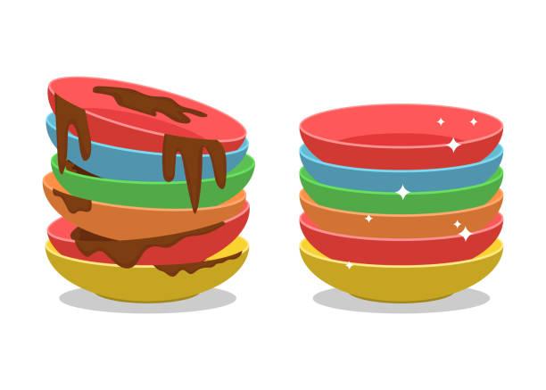 ilustraciones, imágenes clip art, dibujos animados e iconos de stock de dirty platos ilustraciones de diseño vectorial aislados sobre fondo blanco - leftovers