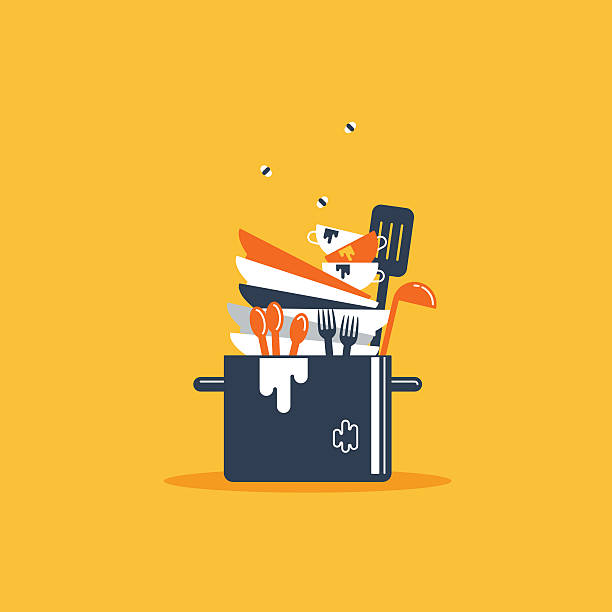 Dirty dishes Flat design illustration unhygienic stock illustrations