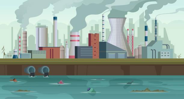 ilustraciones, imágenes clip art, dibujos animados e iconos de stock de fábrica sucia. basura y humo de la producción de fábricas urbanas contaminación del río smog ciudad en el fondo concepto de cielo - contaminación ambiental