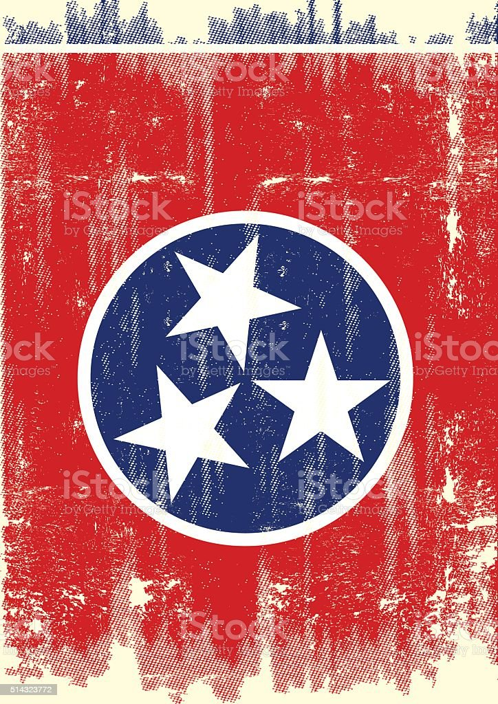 Dirty Flag of Tennesse vector art illustration