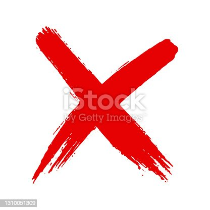 istock Dirty grunge hand drawn cross x with brush strokes vector illustration 1310051309