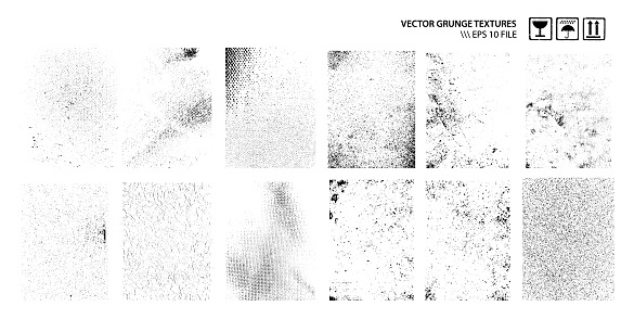 Set of grunge dirty textures isolated on white. Vector graphic.