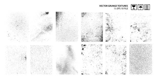 Dirty Grunge Textures Vector Set Set of grunge dirty textures isolated on white. Vector graphic. grunge image technique stock illustrations