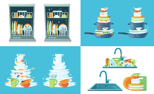 Dirty kitchen dish. Clean empty dishes, plates in dishwasher and dinnerware in sink. Washing up dish cartoon vector illustration