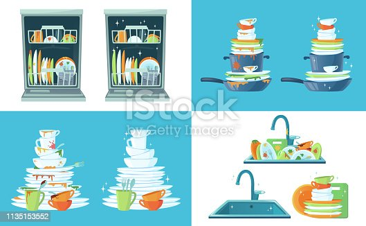 Dirty kitchen dish. Clean empty dishes, plates in dishwasher and dinnerware in sink. Washing up dish, dirty and clean restaurant plate or household kitchenware cartoon vector illustration set