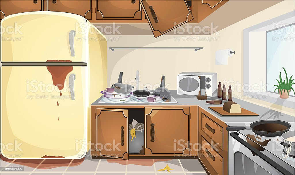 Dirty Kitchen Stock Vector Art & More Images of Apartment 165962446 ...
