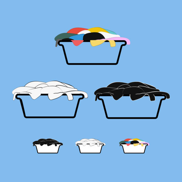 Dirty laundry basket design set Set of black, white and color dirty laundry baskets label tags design for household chemistry laundry basket stock illustrations