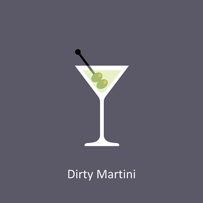Dirty Martini cocktail icon on dark background in flat style