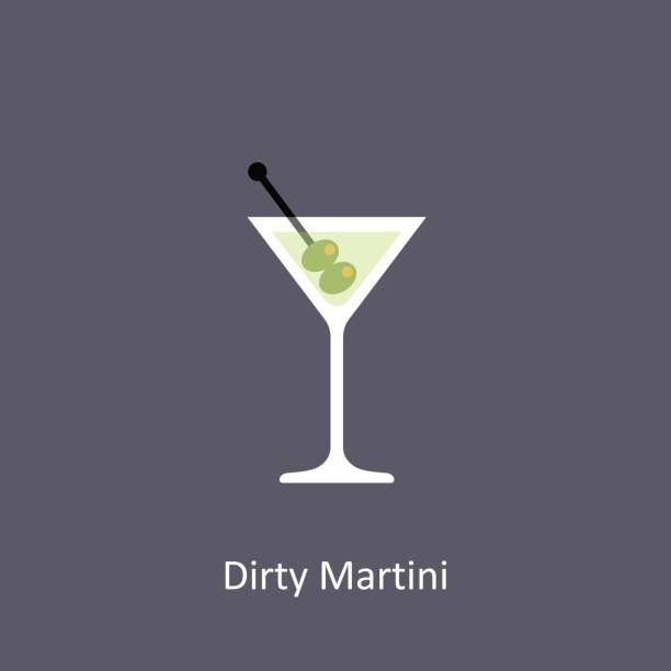 Dirty Martini cocktail icon on dark background in flat style Dirty Martini cocktail icon on dark background in flat style. Vector illustration martini glass stock illustrations