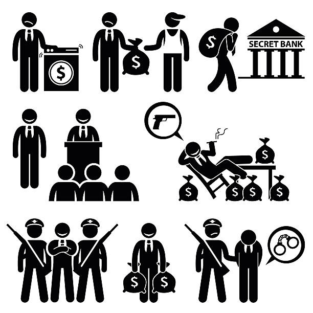 dirty money laundering by politician pictogram - evil money stock illustrations, clip art, cartoons, & icons