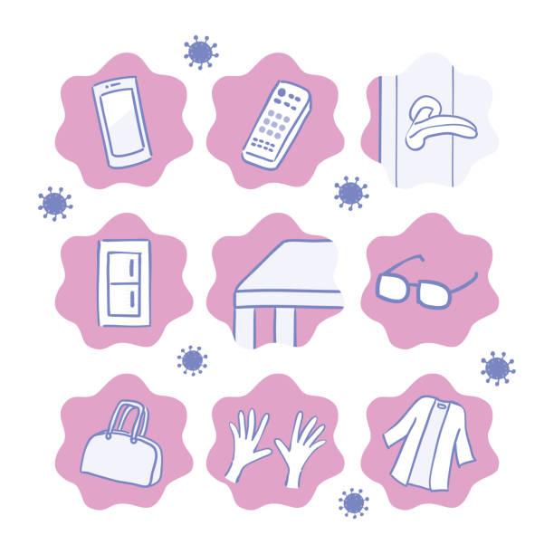 illustrazioni stock, clip art, cartoni animati e icone di tendenza di dirty place icon with fungus - hand on glass covid