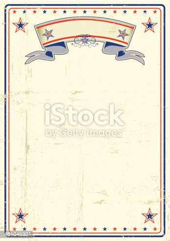 A vintage poster with a large scratched frame and a grunge background for your publicity.
