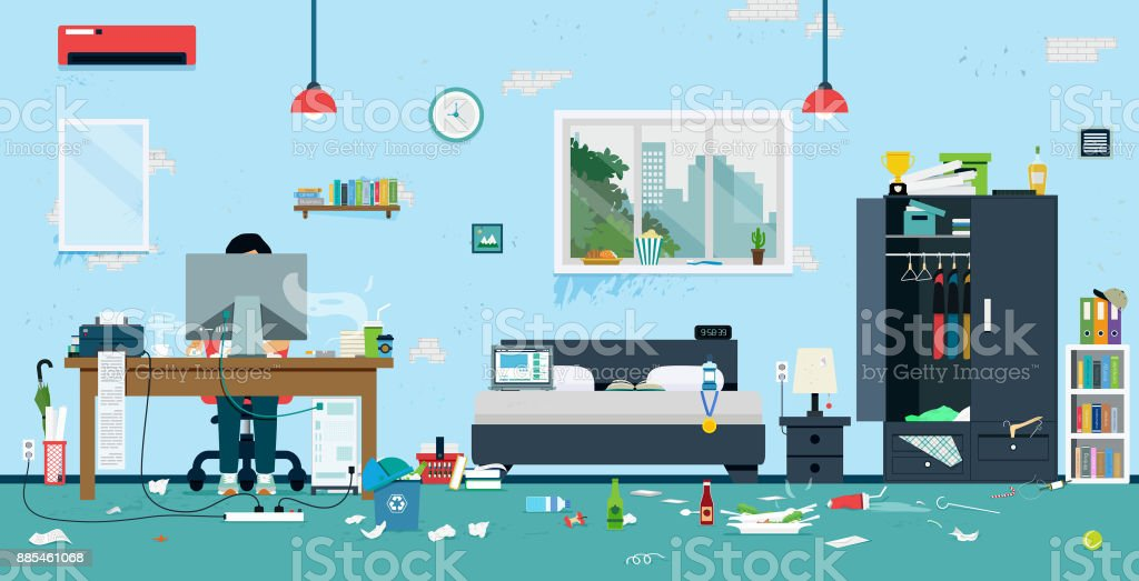 Dirty room vector art illustration