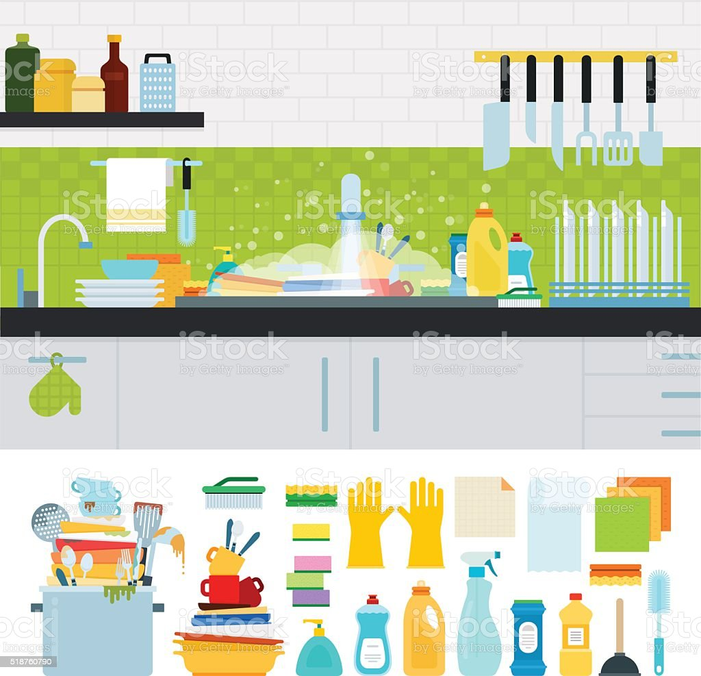 Dirty sink with kitchenware vector art illustration