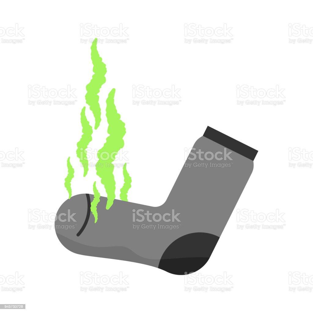 Ilustración de Calcetín Sucio Olor Desagradable Hedor Verde Nube ...