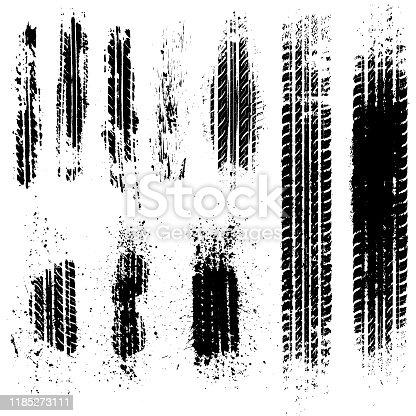 istock Dirty tire tracks stock illustration 1185273111