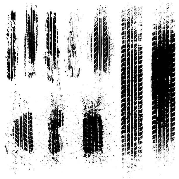 stockillustraties, clipart, cartoons en iconen met vuile banden tracks voorraad illustratie - autoband