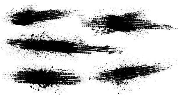 Dirty tire tracks stock illustration
