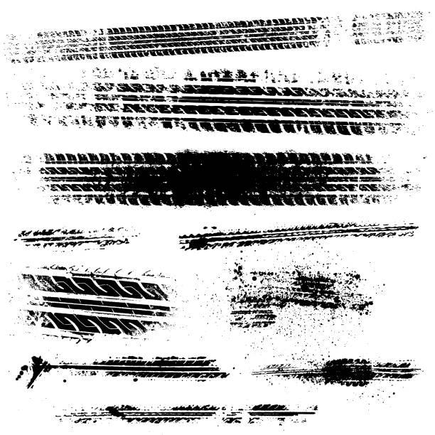 stockillustraties, clipart, cartoons en iconen met vuile banden tracks voorraad illustratie - bandenspoor