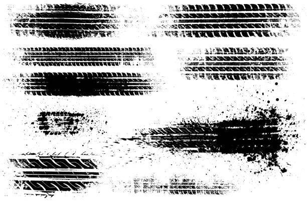 Dirty tire tracks stock illustration vector art illustration