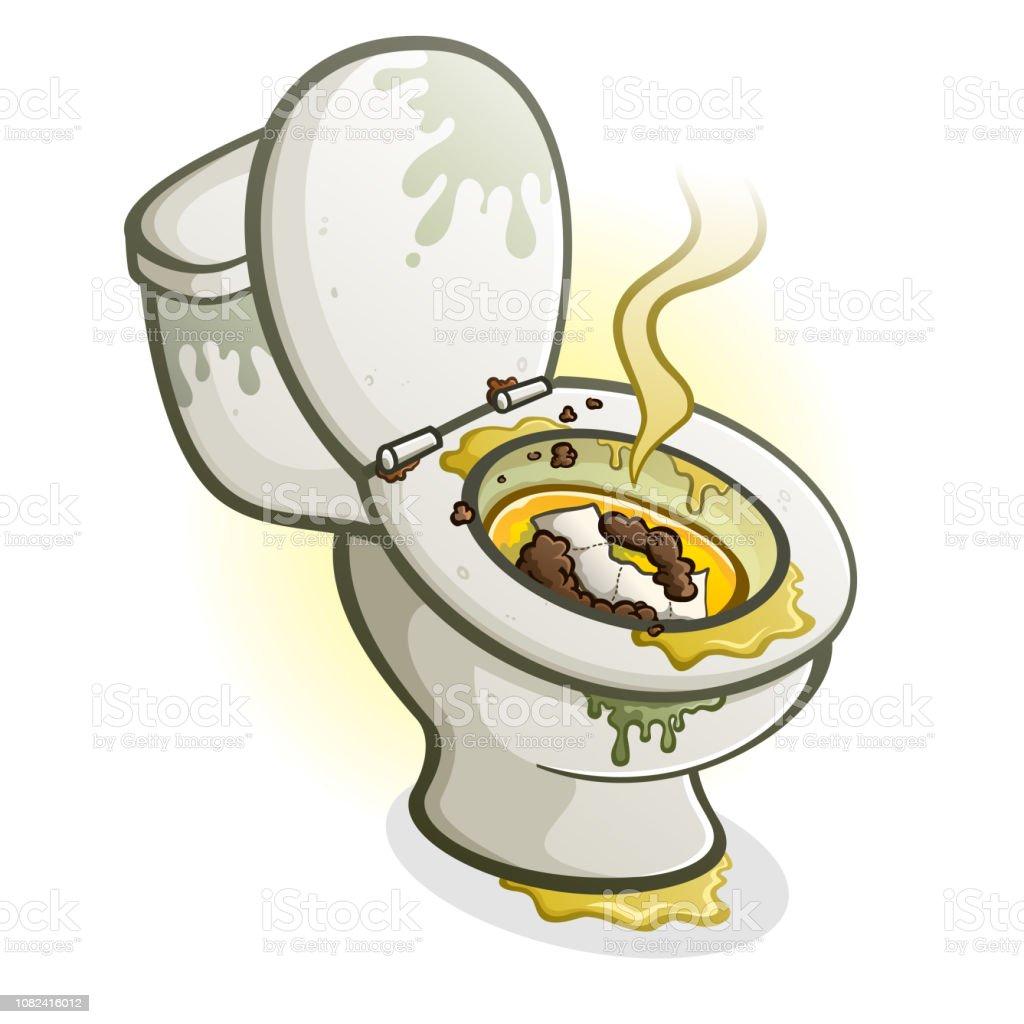 Dirty Bathroom Pics: Dirty Toilet Cartoon Illustration Stock Vector Art & More