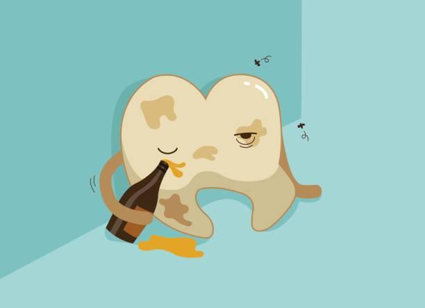 汚れた歯を飲酒すると、歯と歯歯科のコンセプト ベクターアートイラスト