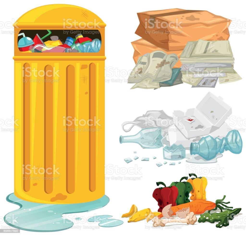 Dirty trash and garbage bin - ilustração de arte em vetor