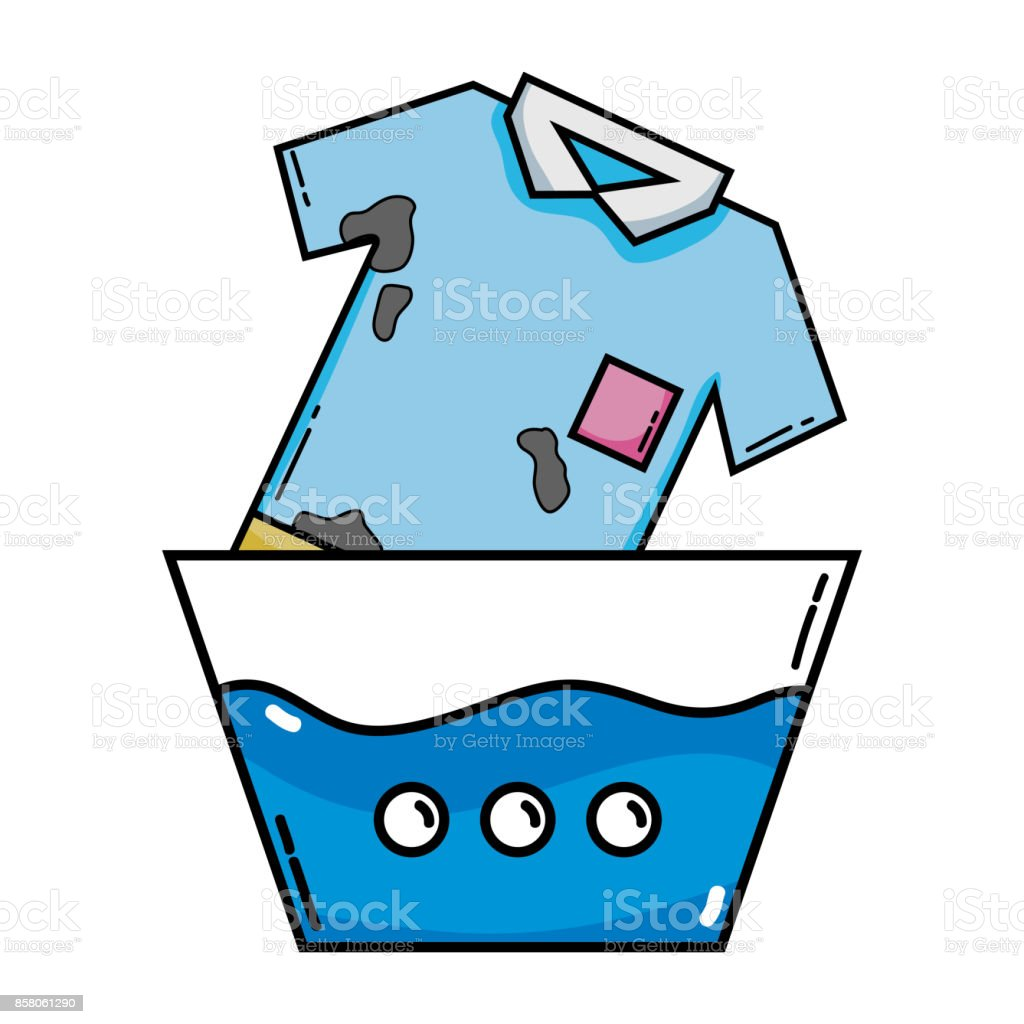 dirty tshirt soaking in pail with water stock vector art more